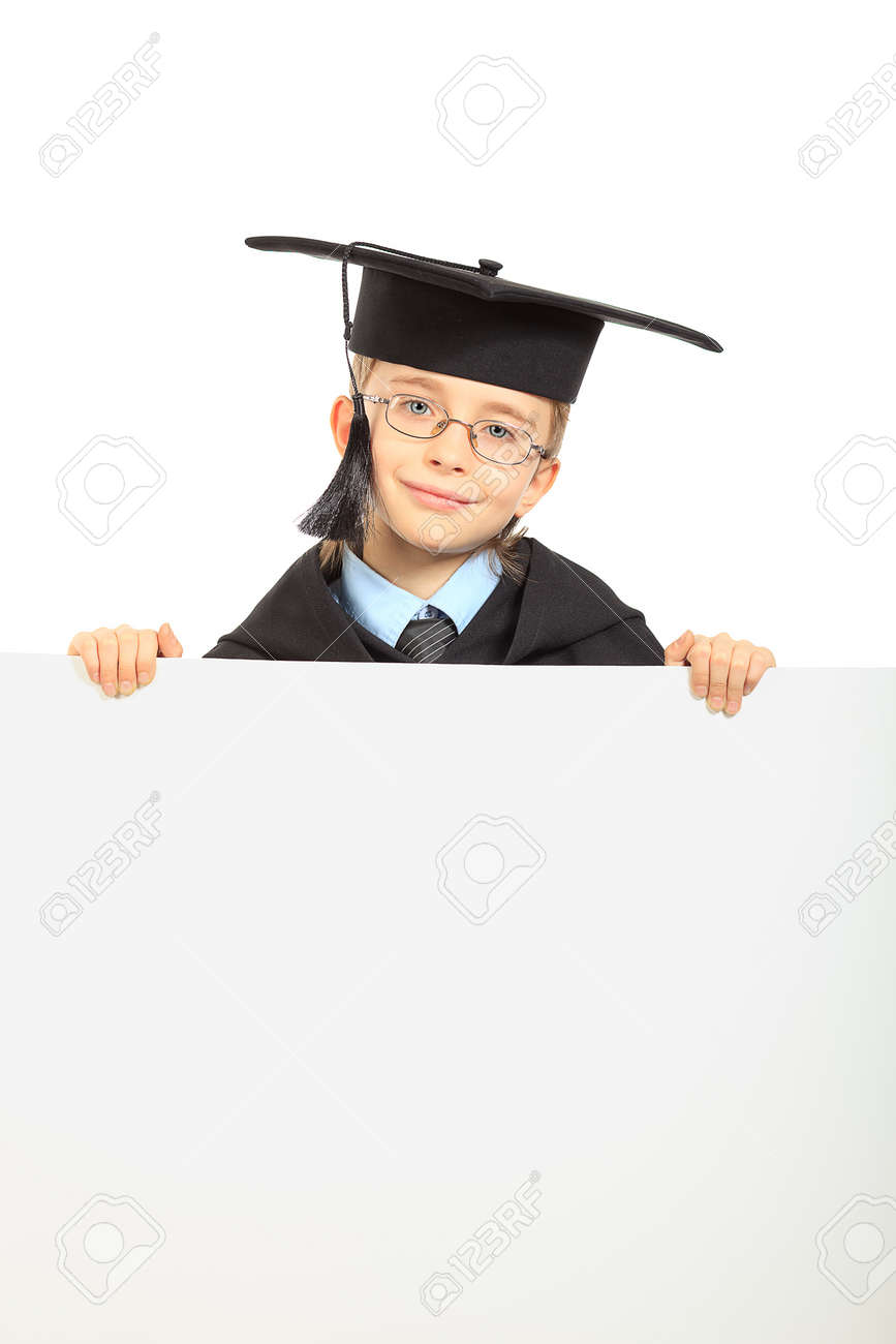 Portrait Of A Cute Boy In A Graduation Gown Holding White Board ...