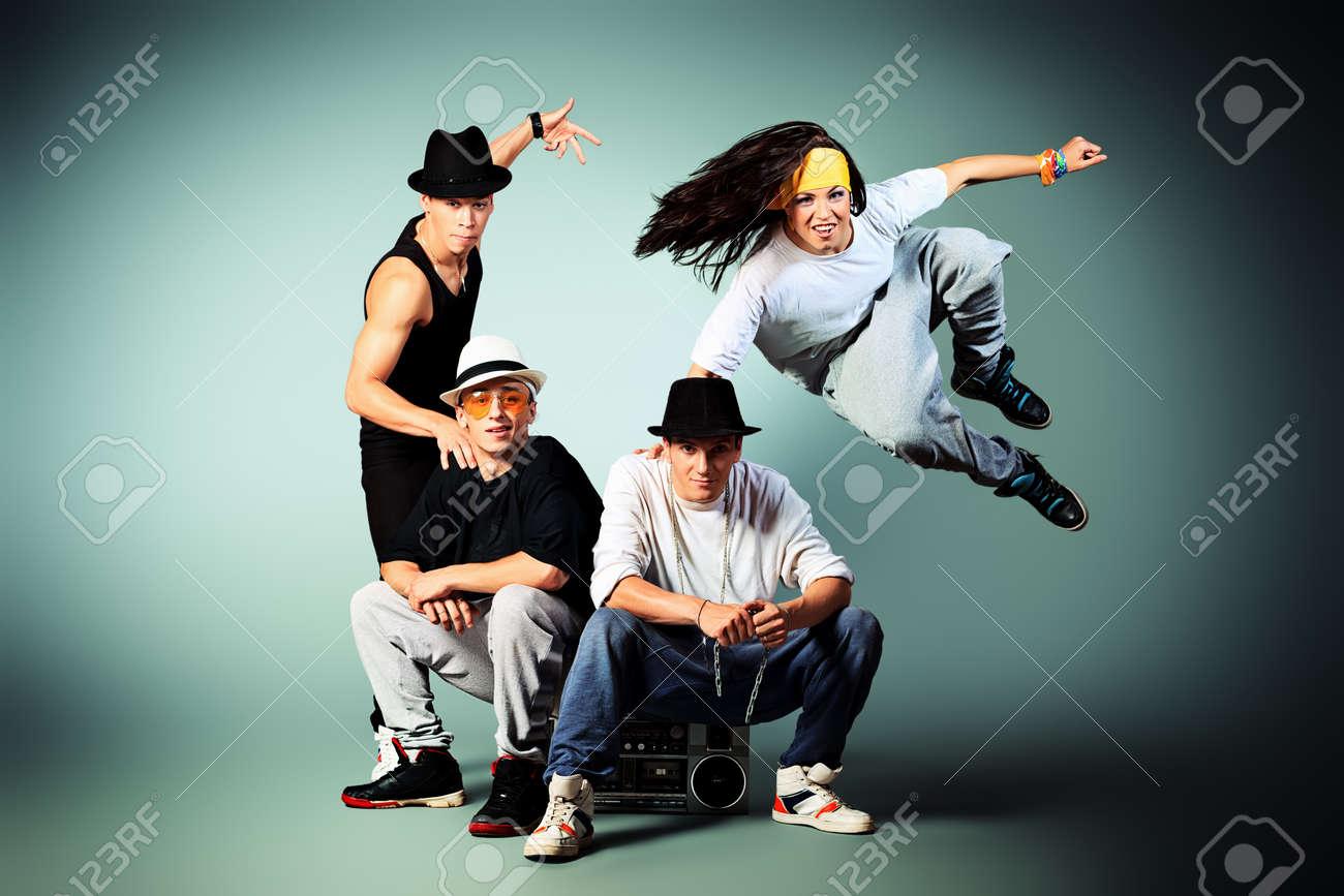 Group of modern dancers dancing hip-hop at studio. Stock Photo - 15963617