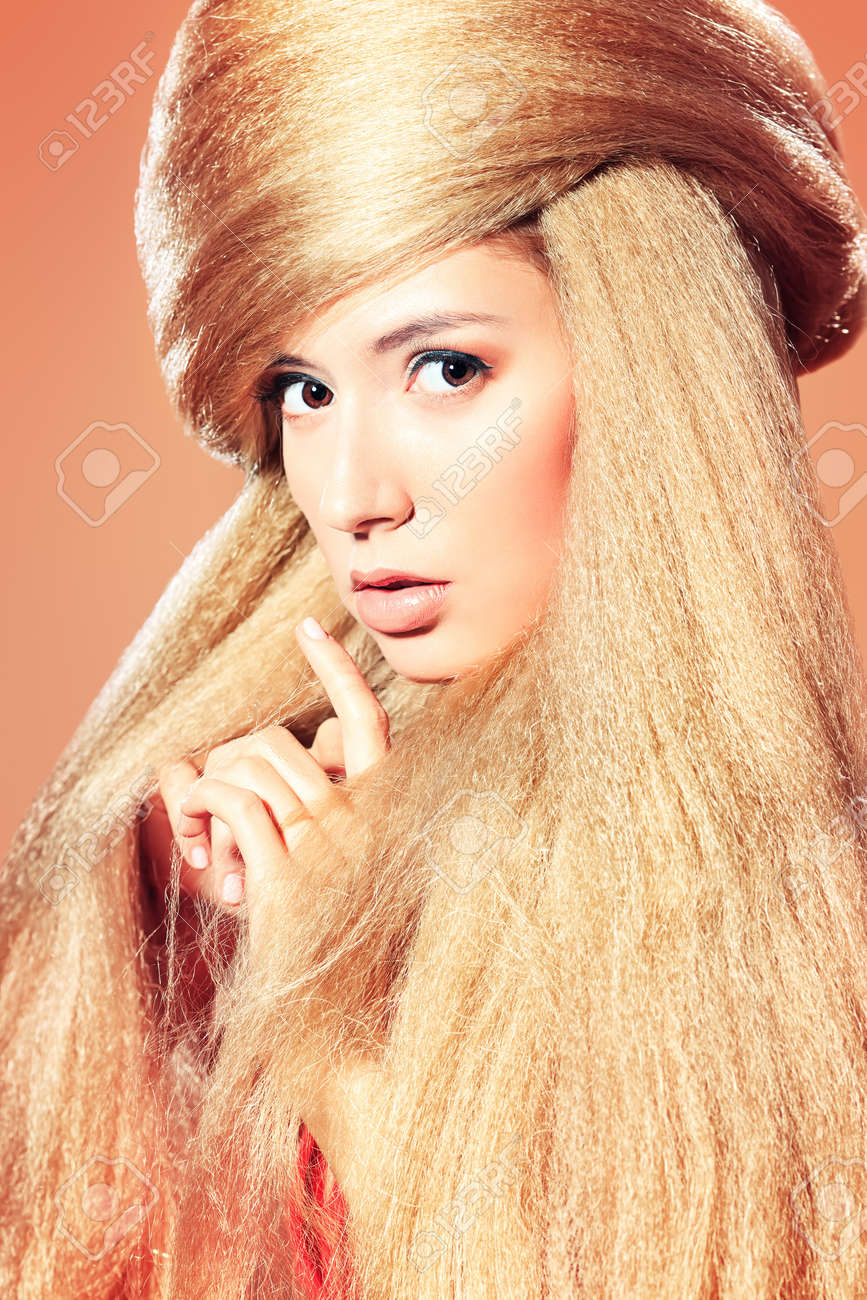 Beautiful blonde woman with fashionable hairstyle Stock Photo - 17255335