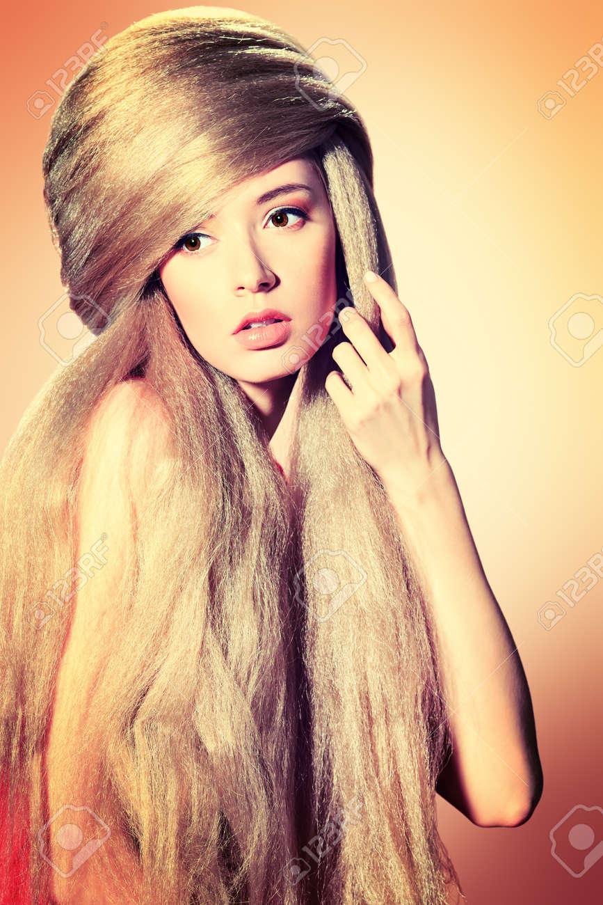 Beautiful blonde woman with fashionable hairstyle Stock Photo - 17255333