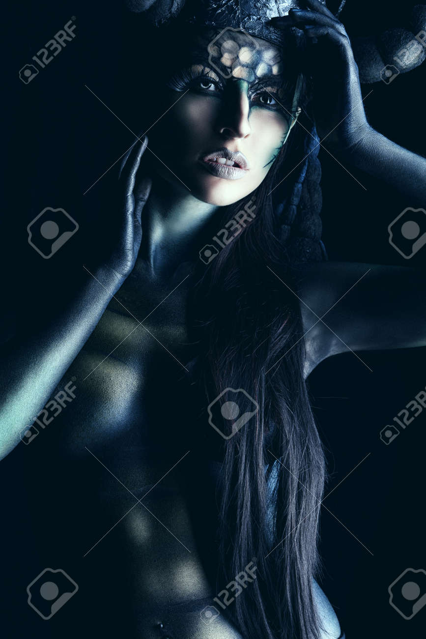 a375b9be5 Beautiful And Scary Devil Woman. Art Project. Stock Photo, Picture ...