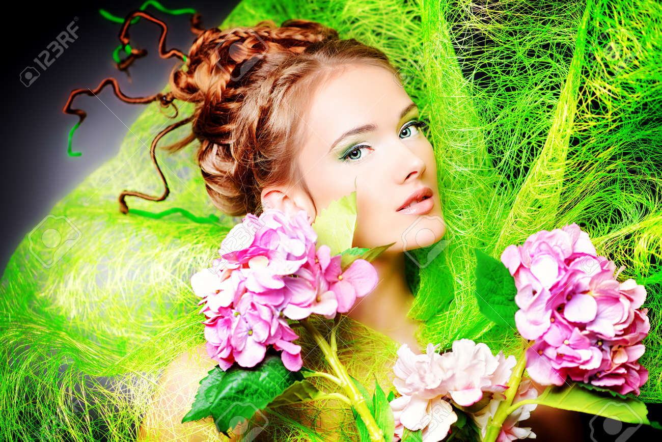Portrait of a beautiful girl with flowers spring stock photo portrait of a beautiful girl with flowers spring stock photo 26351099 izmirmasajfo