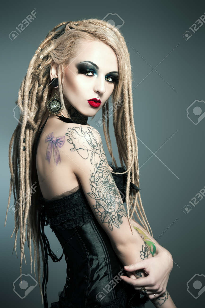 Gorgeous Sexy Girl With Black Make Up And Long Dreadlocks Gothic Style Fashion