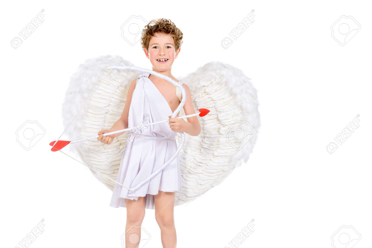 Lovely emotional little boy in a costume of Cupid with a bow and arrows of love  sc 1 st  123RF.com & Lovely Emotional Little Boy In A Costume Of Cupid With A Bow.. Stock ...