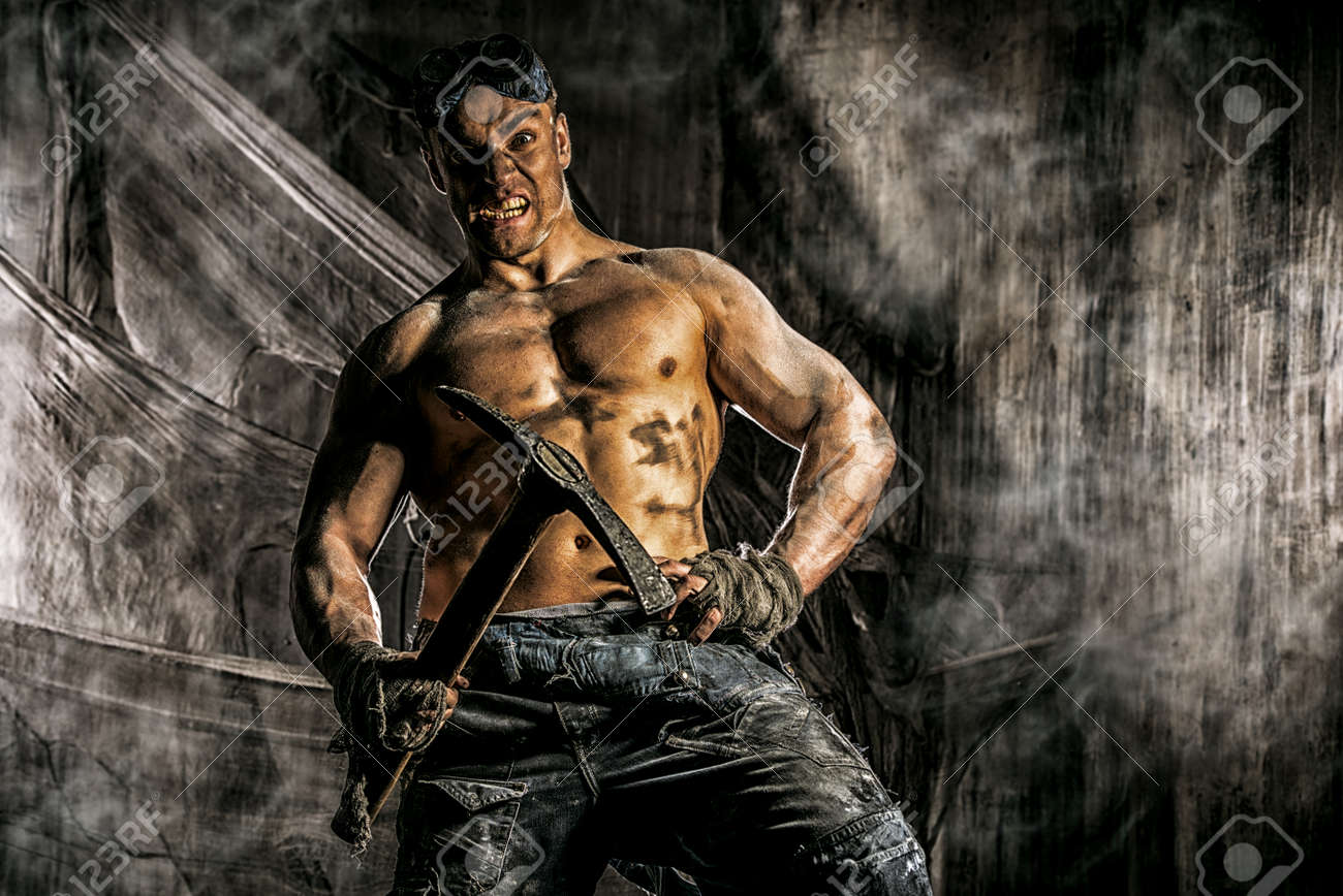Muscular Dirty Coal Miner With A Pickaxe Over Dark Grunge Background Mining Industry Art