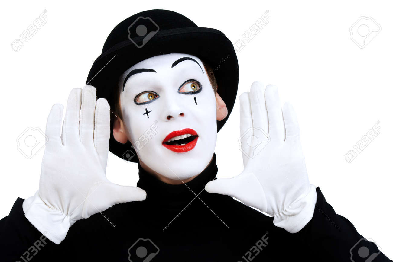 portrait of a male mime artist isolated over white stock photo