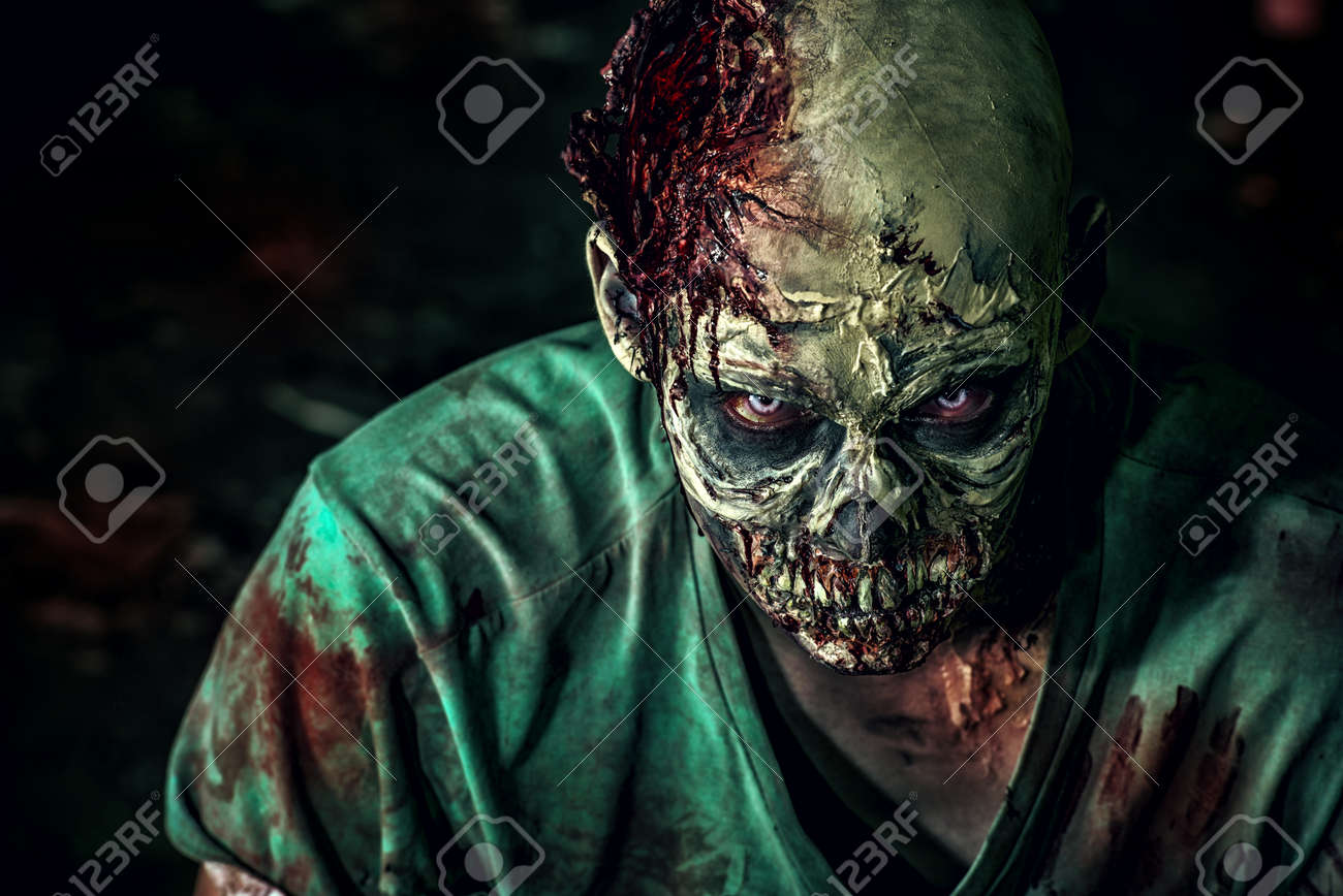 Close-up portrait of a horrible scary zombie man. Horror. Halloween. Stock Photo - 44652276