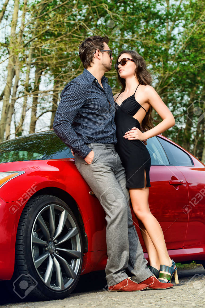 Beautiful Couple Near The Car Beauty Fashion Love Concept Stock Photo Picture And Royalty Free Image Image 45338512