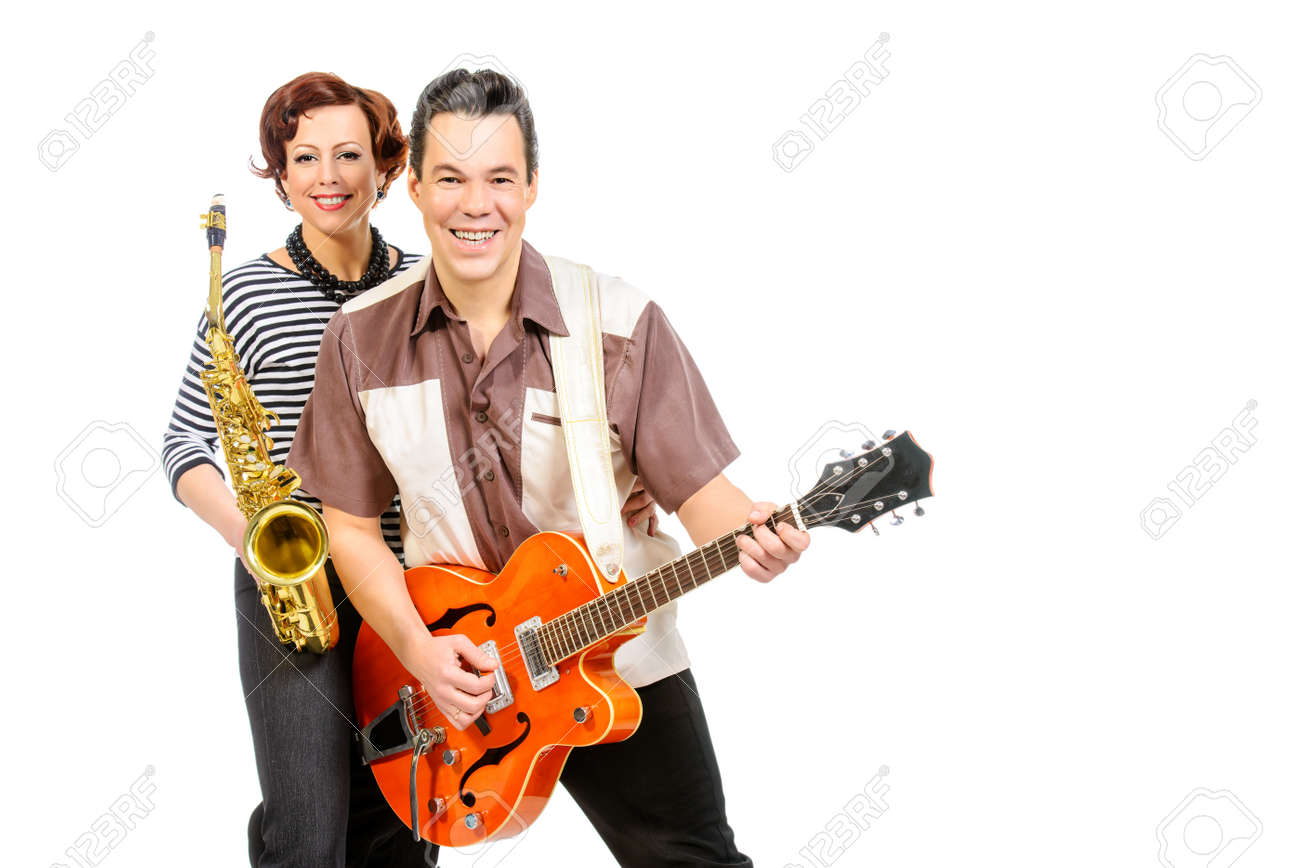 Guitarist and saxophonist duo in the style of the 60s  Rock'n'roll,