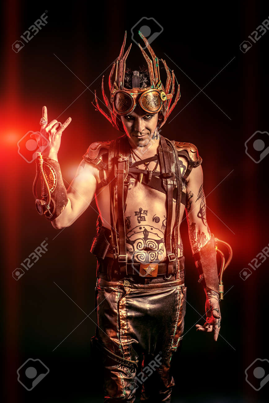 Fire Steampunk Man With A Mechanical Devices Fantasy Hephaestus