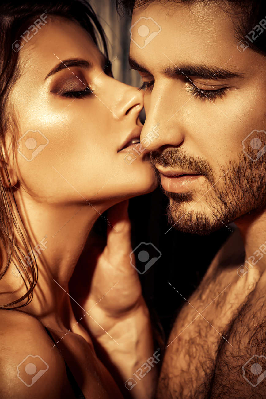 Close-up portrait of a passionate young people in love. - 58071039