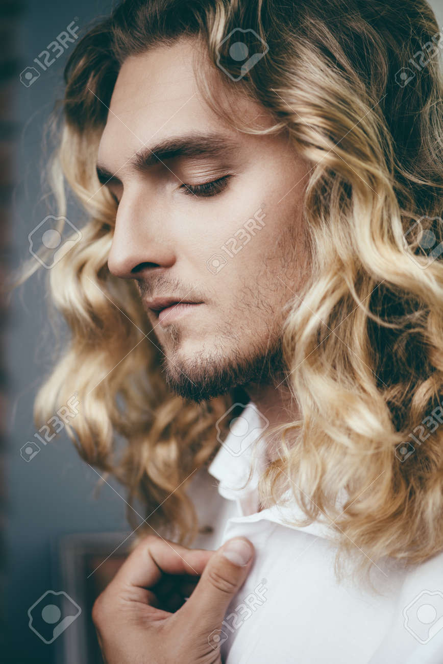 Stupendous Close Up Portrait Of A Handsome Young Man With Long Curly Blond Schematic Wiring Diagrams Amerangerunnerswayorg