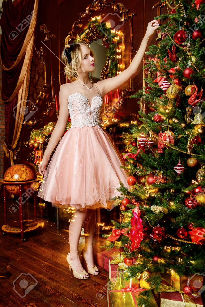 Christmas Evening Dresses.Magical Christmas Night Beautiful Woman In Elegant Evening