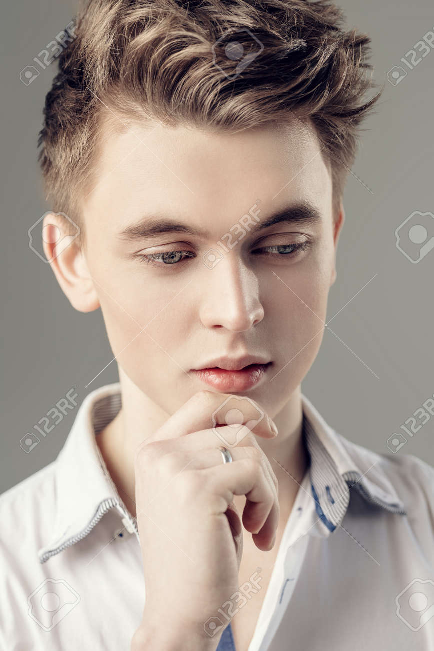 A Close Up Portrait Of A Young Guy In A Shirt Posing Indoor Stock Photo Picture And Royalty Free Image Image 120476340