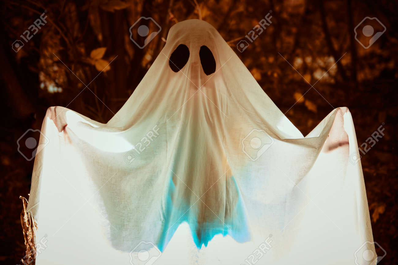 A ghost child under a white sheet with light inside in a dark forest. Halloween concept. - 157200758