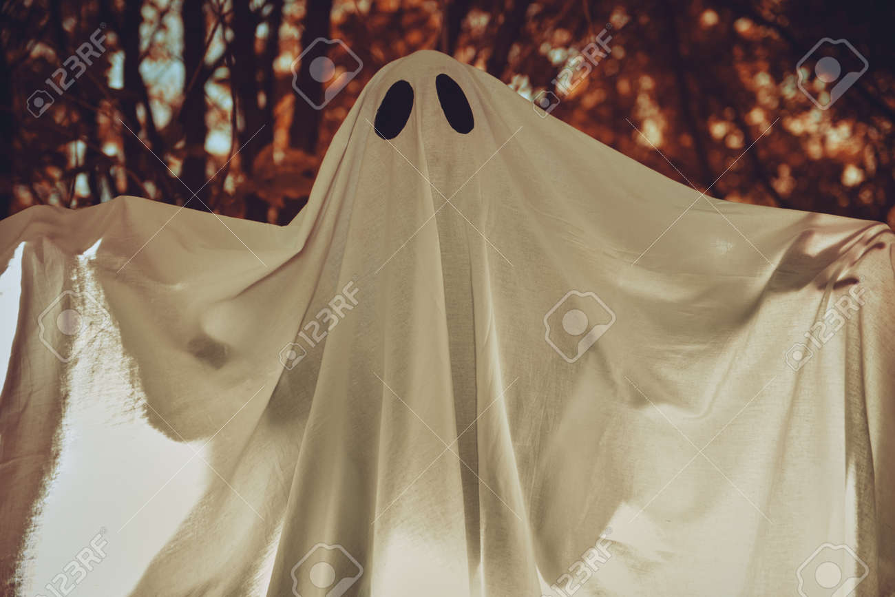 A ghost child under a white sheet with light inside in a dark forest. Halloween concept. - 157679651