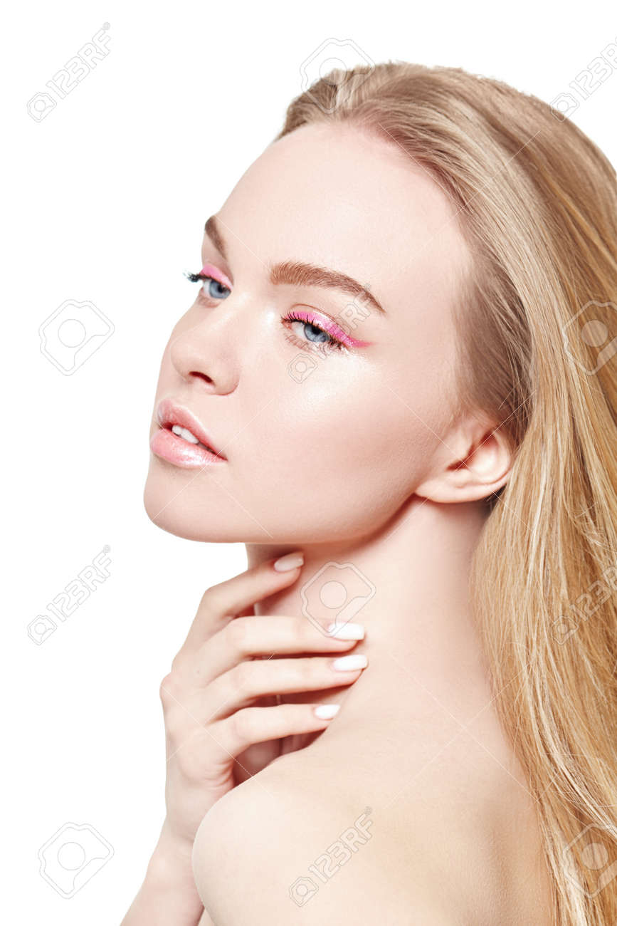 Beauty and spa. Portrait of a beautiful blonde girl with light fresh makeup in pink make up on a white background. Skin care. Makeup and cosmetics. - 166409324