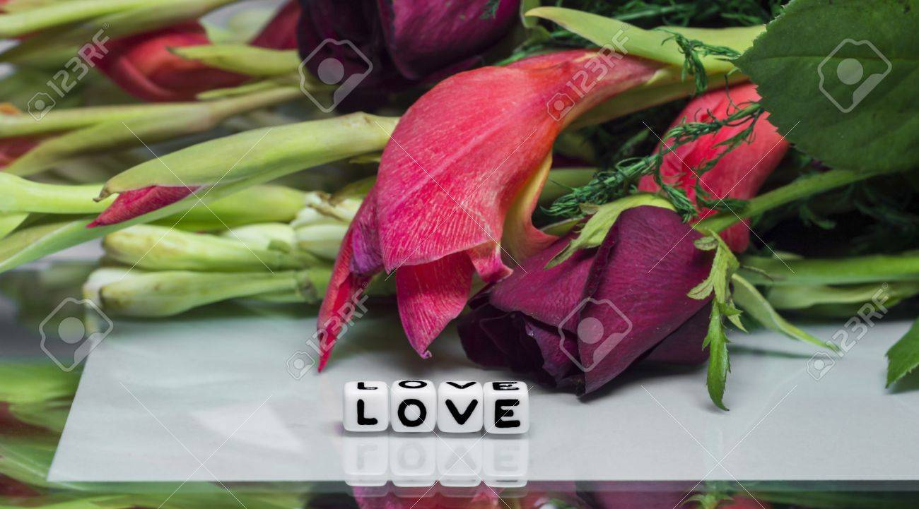 Love Message With Flowers And Text Beautiful Card Theme With Stock