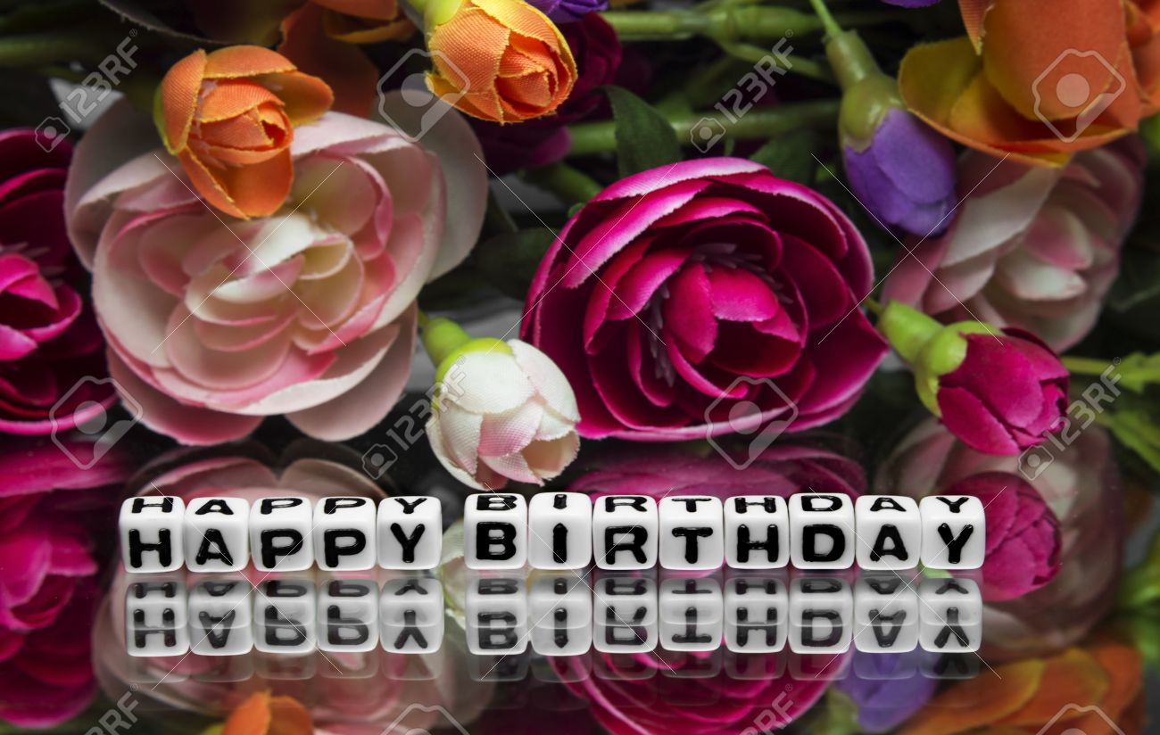 Happy Birthday Message With Text And Flowers Stock Photo Picture