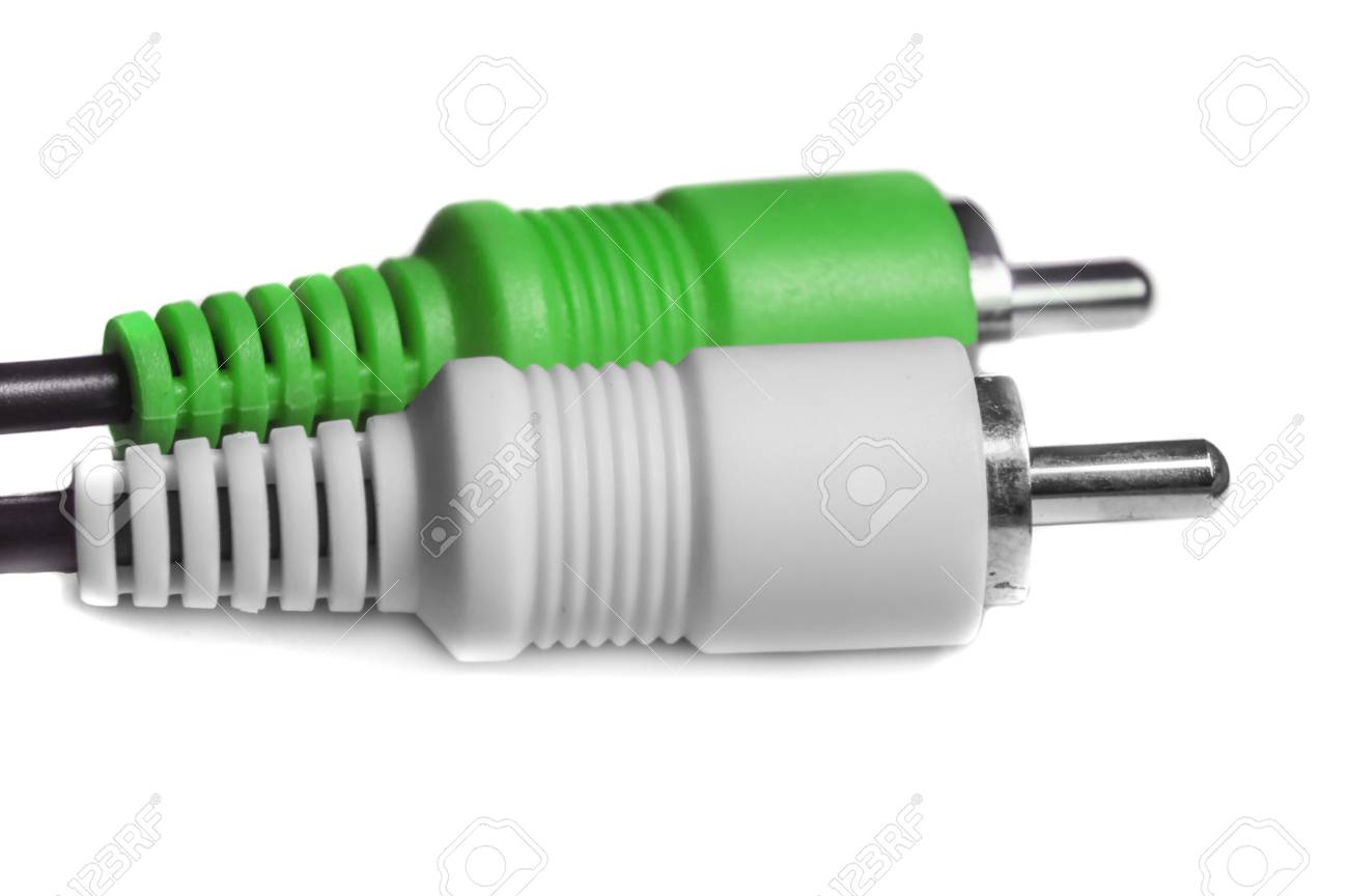 Green white audio video jacks for electronic devices and gadgets. Stock Photo - 30983393