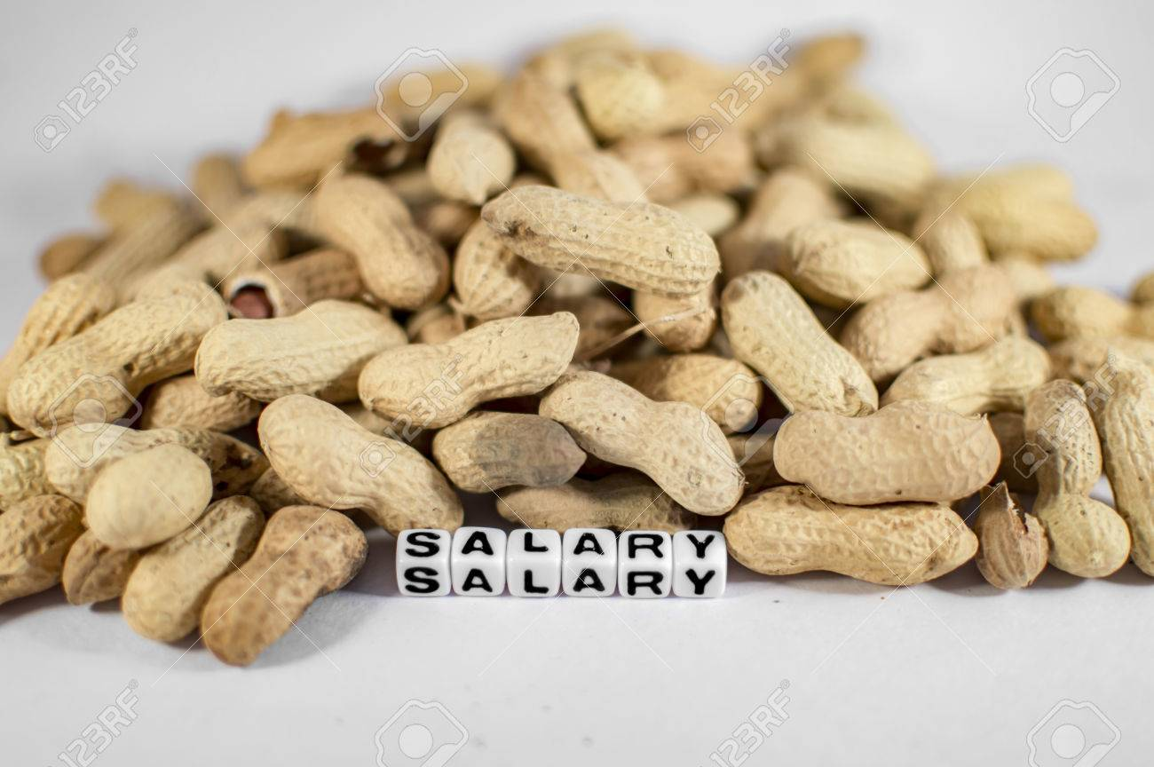 Salary text with peanuts on the board Stock Photo - 45917137
