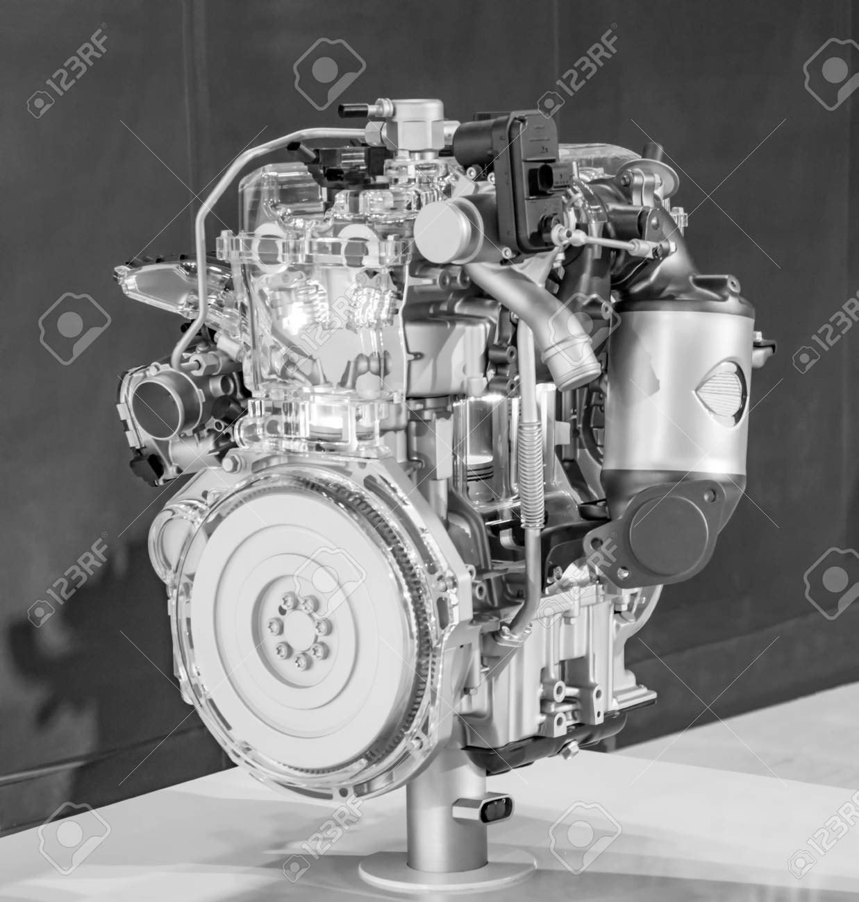 Car Engine On Display With Shiny Parts. Stock Photo, Picture And ...