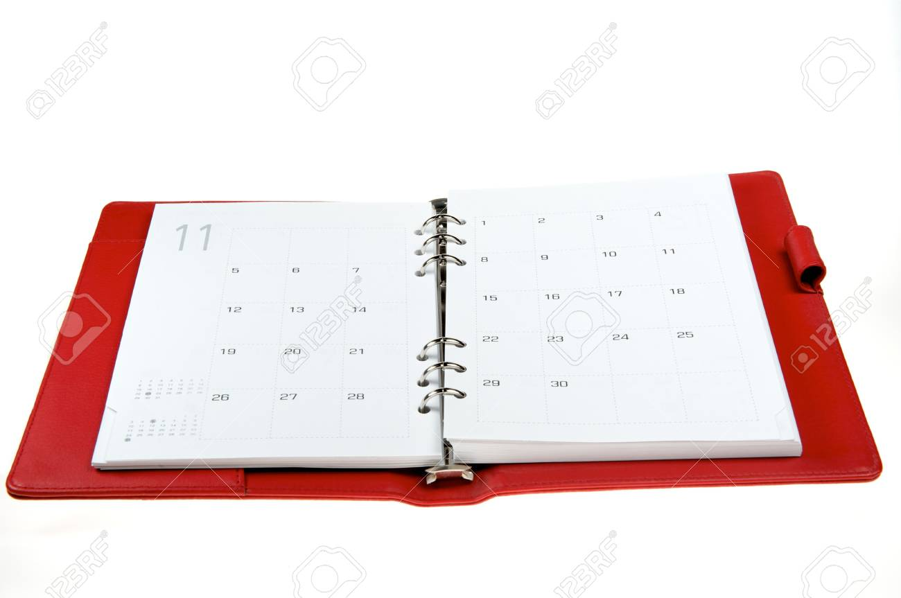 Rad leather notebook on a white background Stock Photo - 7948658