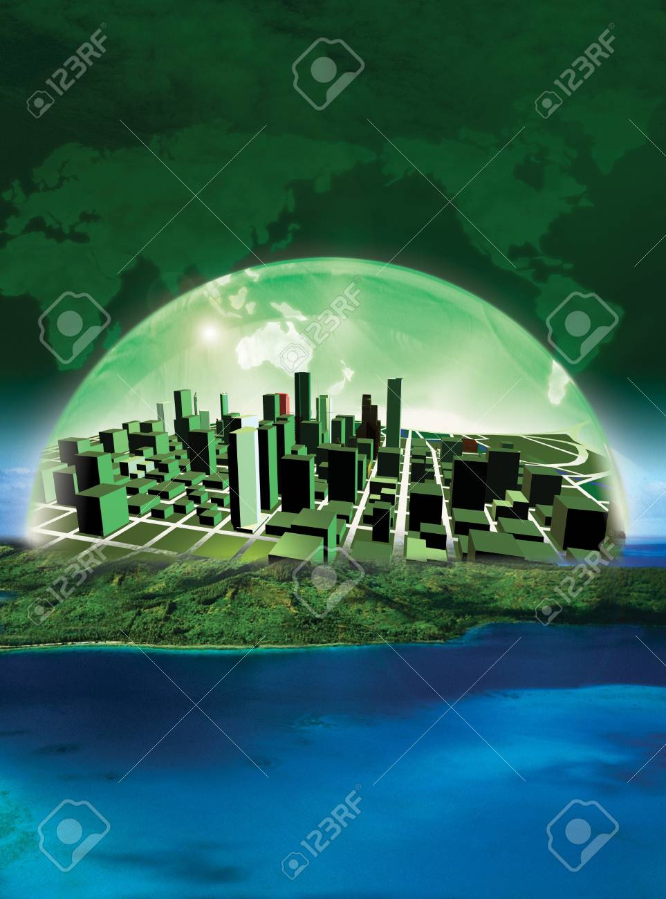 3D rendered conceptualization of Green city Stock Photo - 12544863