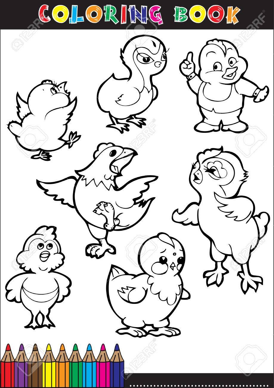 Cartoon Ilustraciones De Libros Para Colorear. Series De Pollos ...