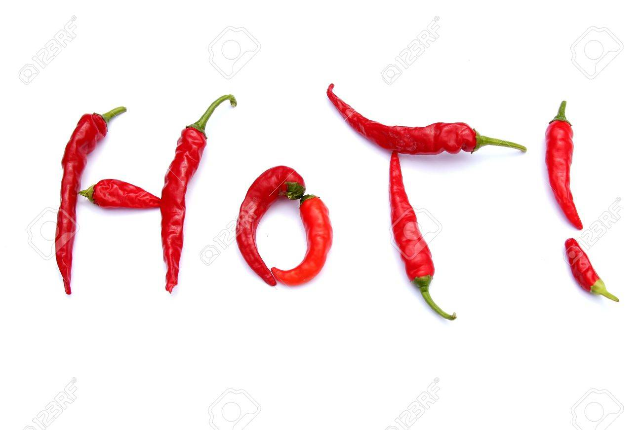 Cayenne Peppers forming the word Stock Photo - 3202895