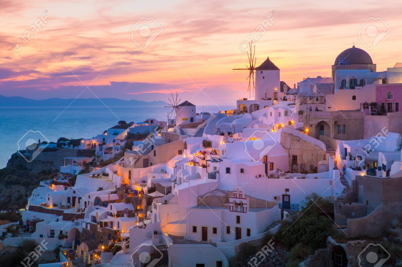 View of Oia the most beautiful village of Santorini island in Greece. - 135293565