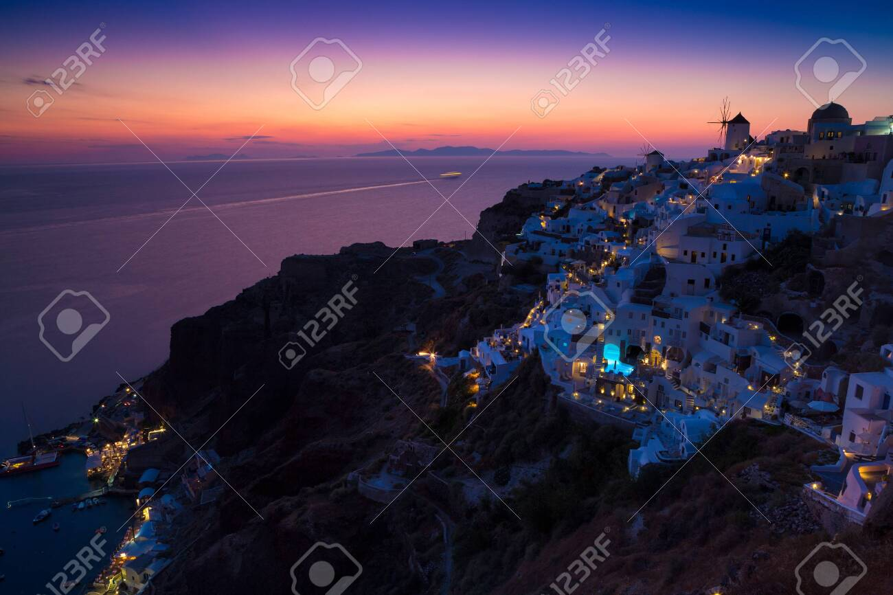 View of Oia the most beautiful village of Santorini island in Greece. - 135293575