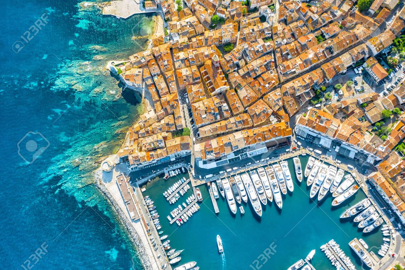 View of the city of Saint-Tropez, Provence, Cote dAzur, a popular destination for travel in Europe - 135755819