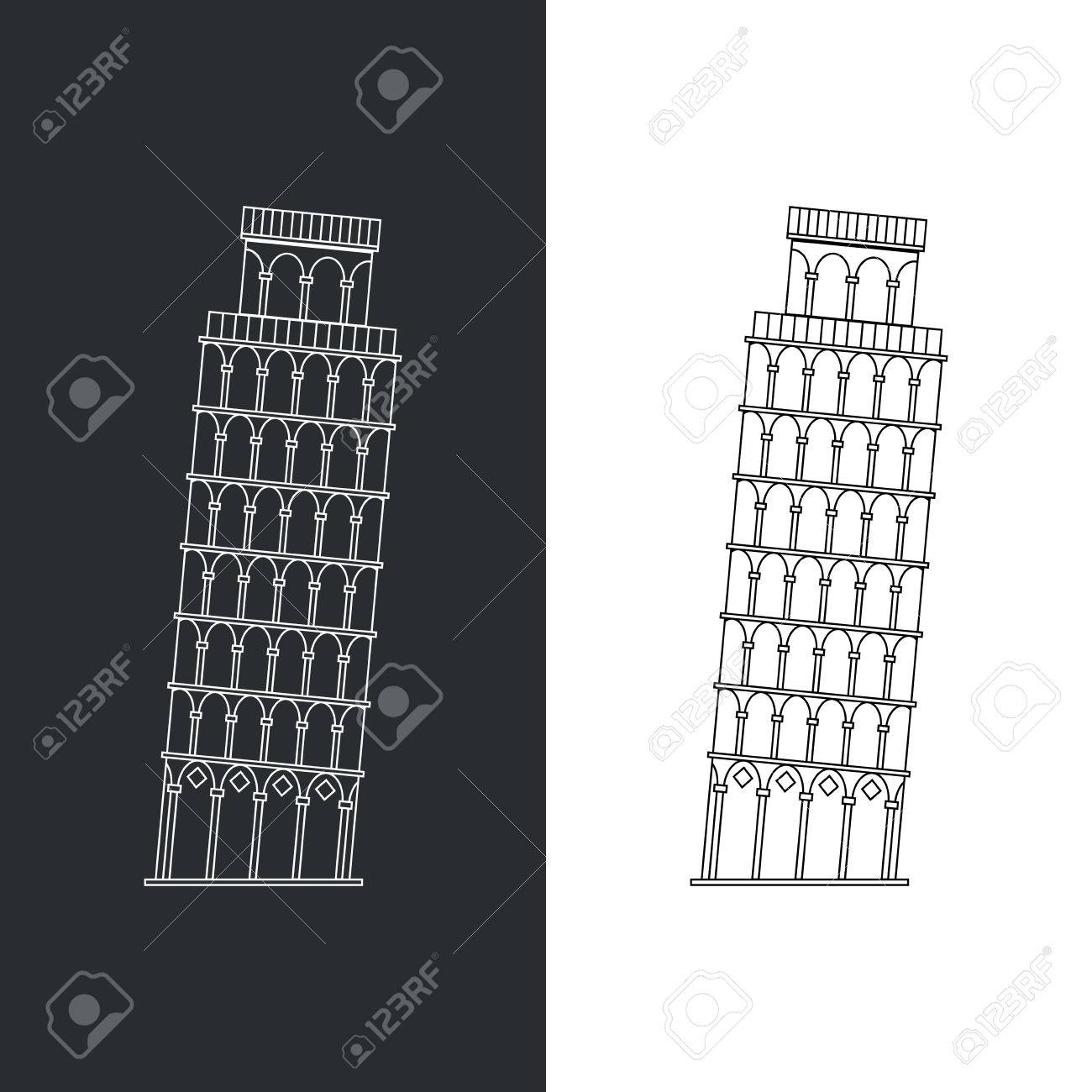 Thin line Leaning Tower Pisa vector illustration icon. Outline landmark Italian Tuscany symbol isolated on white. Premium quality linear stroke logo of Italy concept pictogram. - 53302688