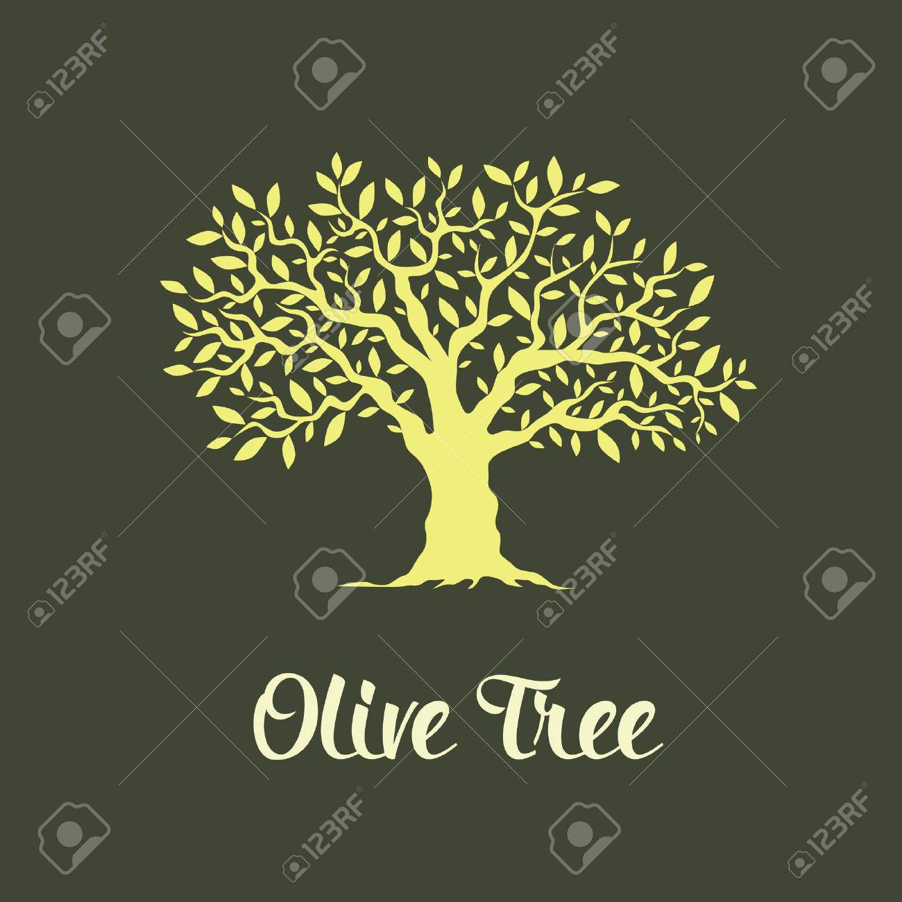Beautiful magnificent olive tree isolated on green background. Premium quality logo concept vector illustration. - 53302732