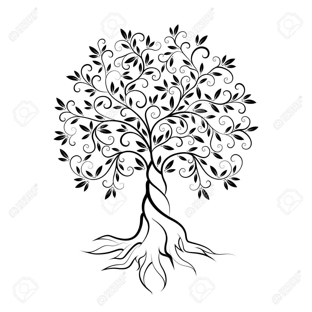 Olive Tree Outline Curl Silhouette Icon Isolated On White Background