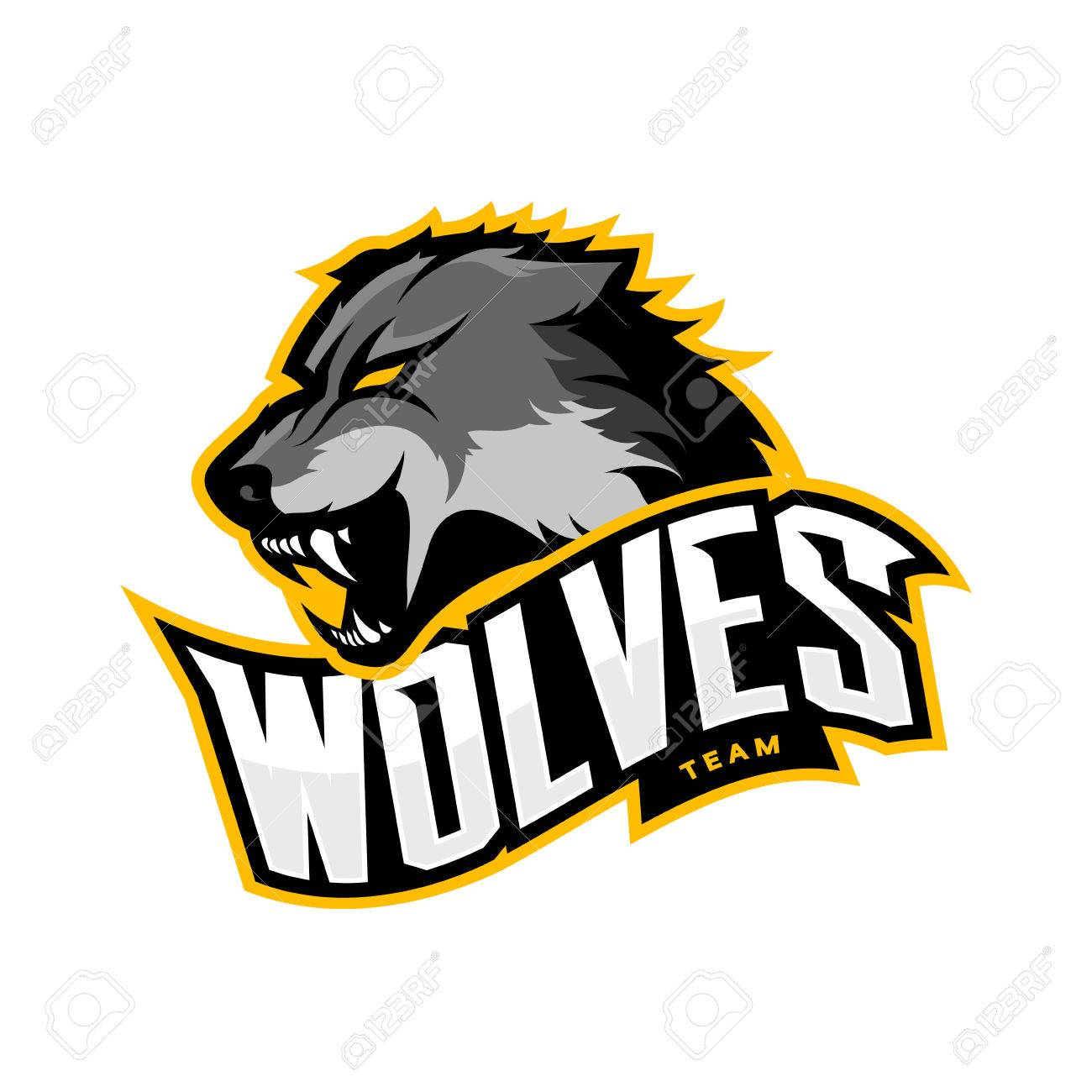 Furious wolf sport vector logo concept isolated on white background. Web infographic predator team pictogram.Premium quality wild animal t-shirt tee print illustration. - 72814853
