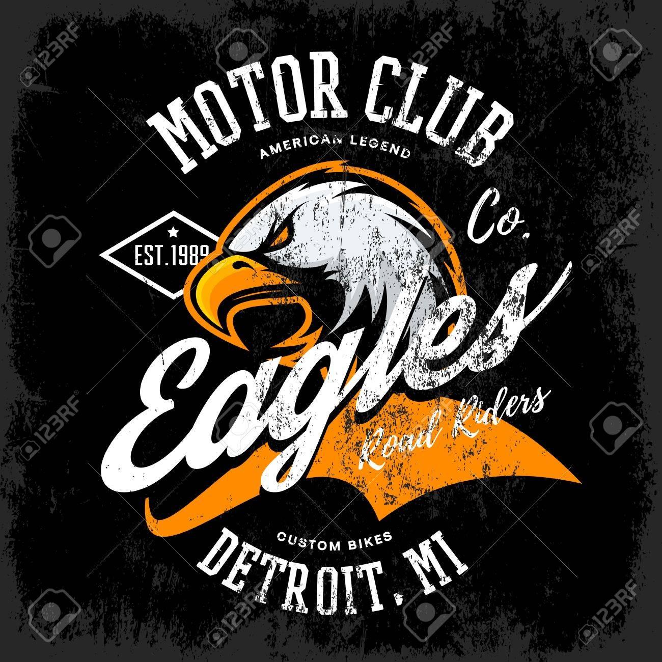Vintage American furious eagle custom bike motor club tee print vector design isolated on dark background. Michigan, Detroit street wear t-shirt emblem. Premium quality wild bird superior logo concept illustration. - 73479289