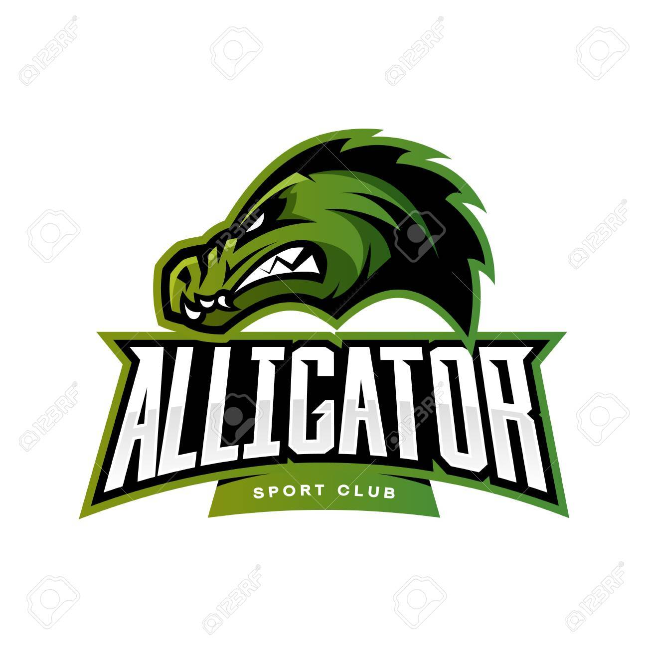 Furious Alligator Sport Vector Logo Concept Isolated On White