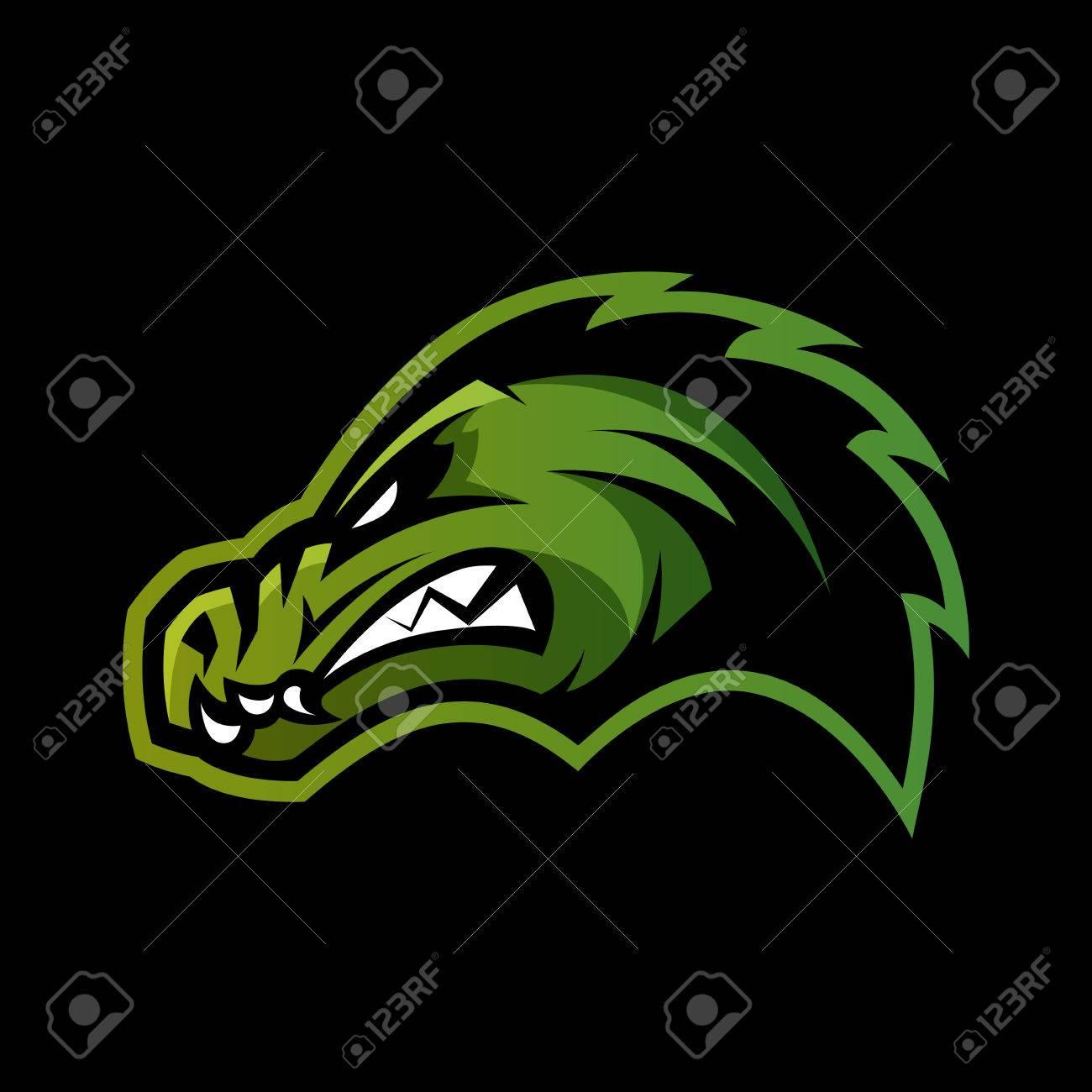 Furious Alligator Head Sport Vector Logo Concept Isolated On