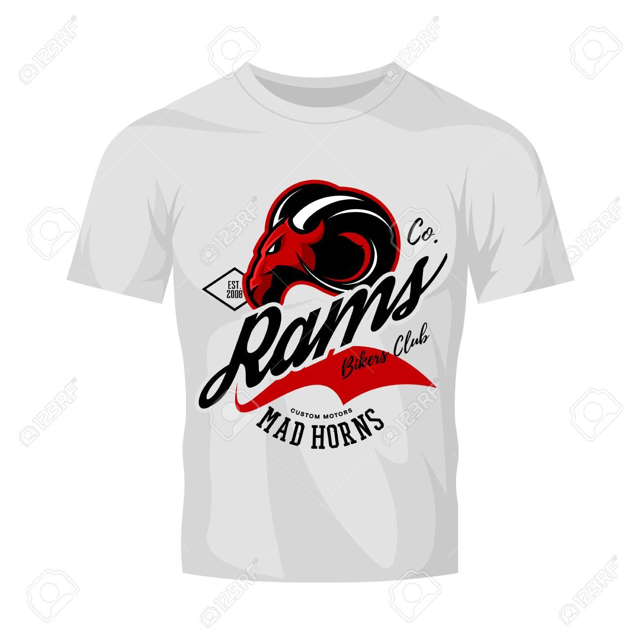 Vintage American furious ram bikers club tee print vector design isolated on white t-shirt mockup. Street wear t-shirt emblem. Mascot logo concept illustration. - 77756778