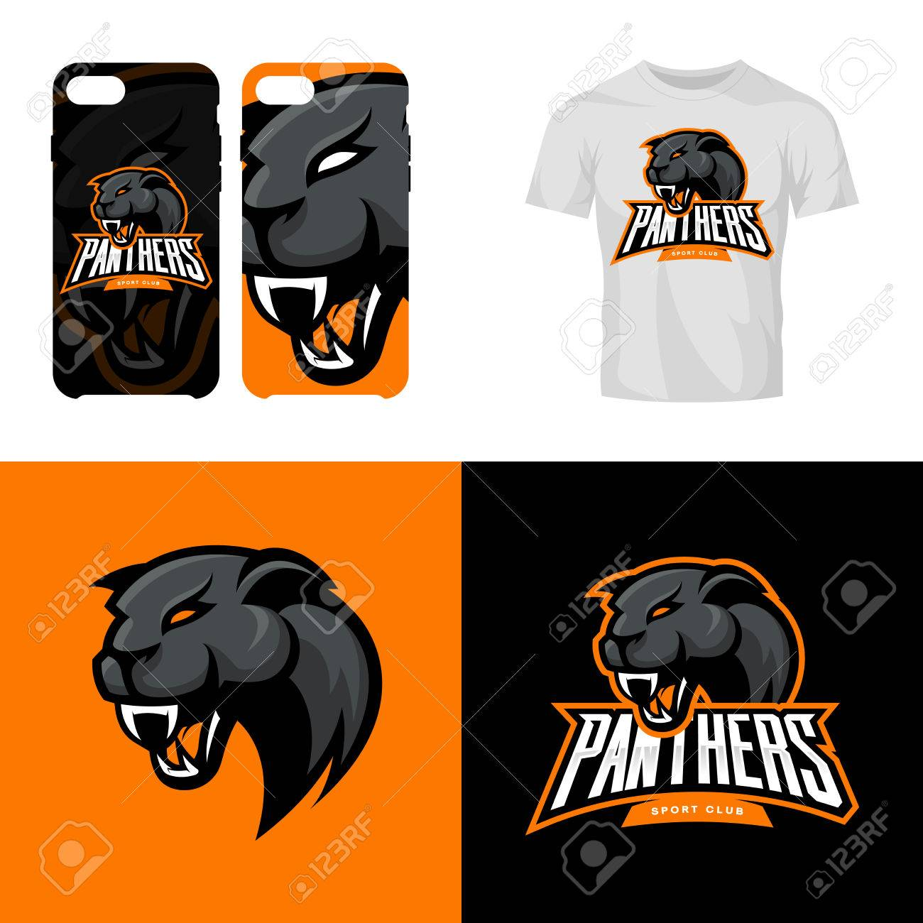 07bdf812 Panther head sport club isolated vector logo concept. Modern professional  team badge mascot design.