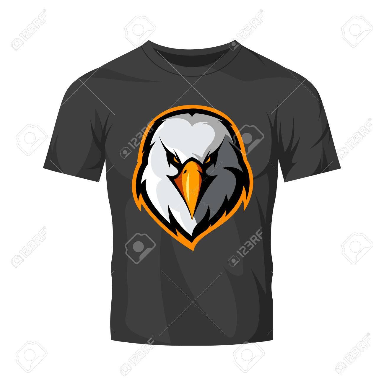 Furious eagle head club athlétique logo vectoriel concept isolé sur maillot de t shirt noir.