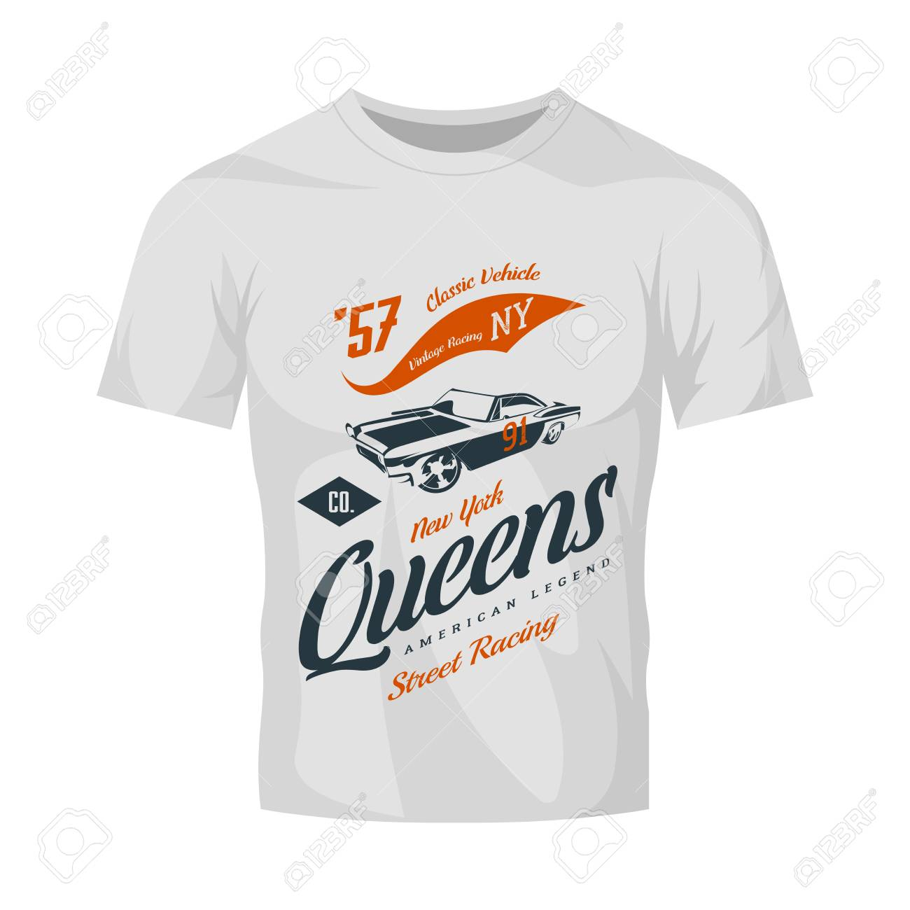 d308d76e3141 Vector - Vintage muscle car vector logo isolated on white t-shirt mock up. Premium  quality old sport vehicle logotype t-shirt emblem illustration.