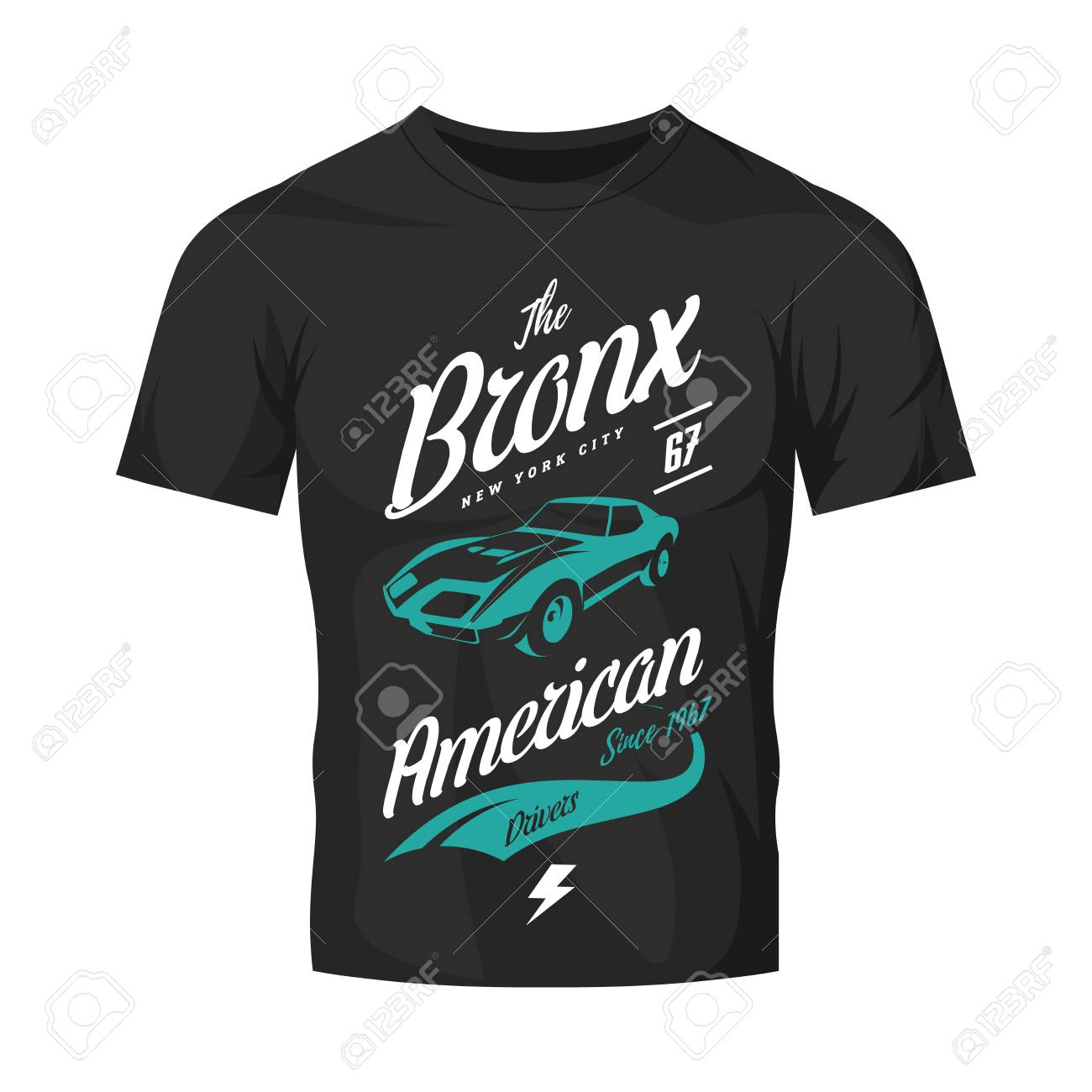 46090e05 American Muscle Car T-shirt Design. Royalty Free Cliparts, Vectors ...