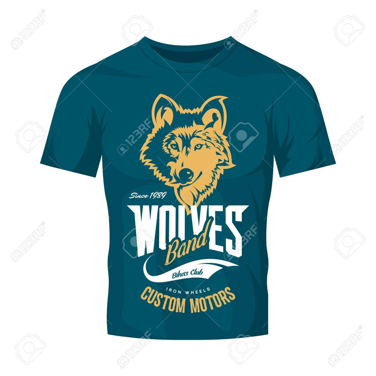 Vintage Wolf Custom Cars Club Vector Logo On Blue T Shirt Mock