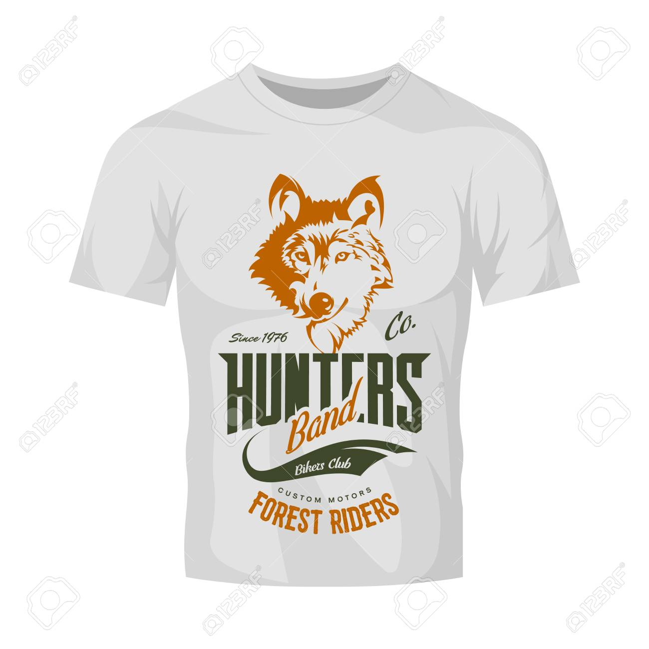 d742ff16500d Vector - Vintage wolf custom motors club vector logo on white t-shirt  mock-up. Premium quality bikers band logotype tee-shirt emblem illustration.