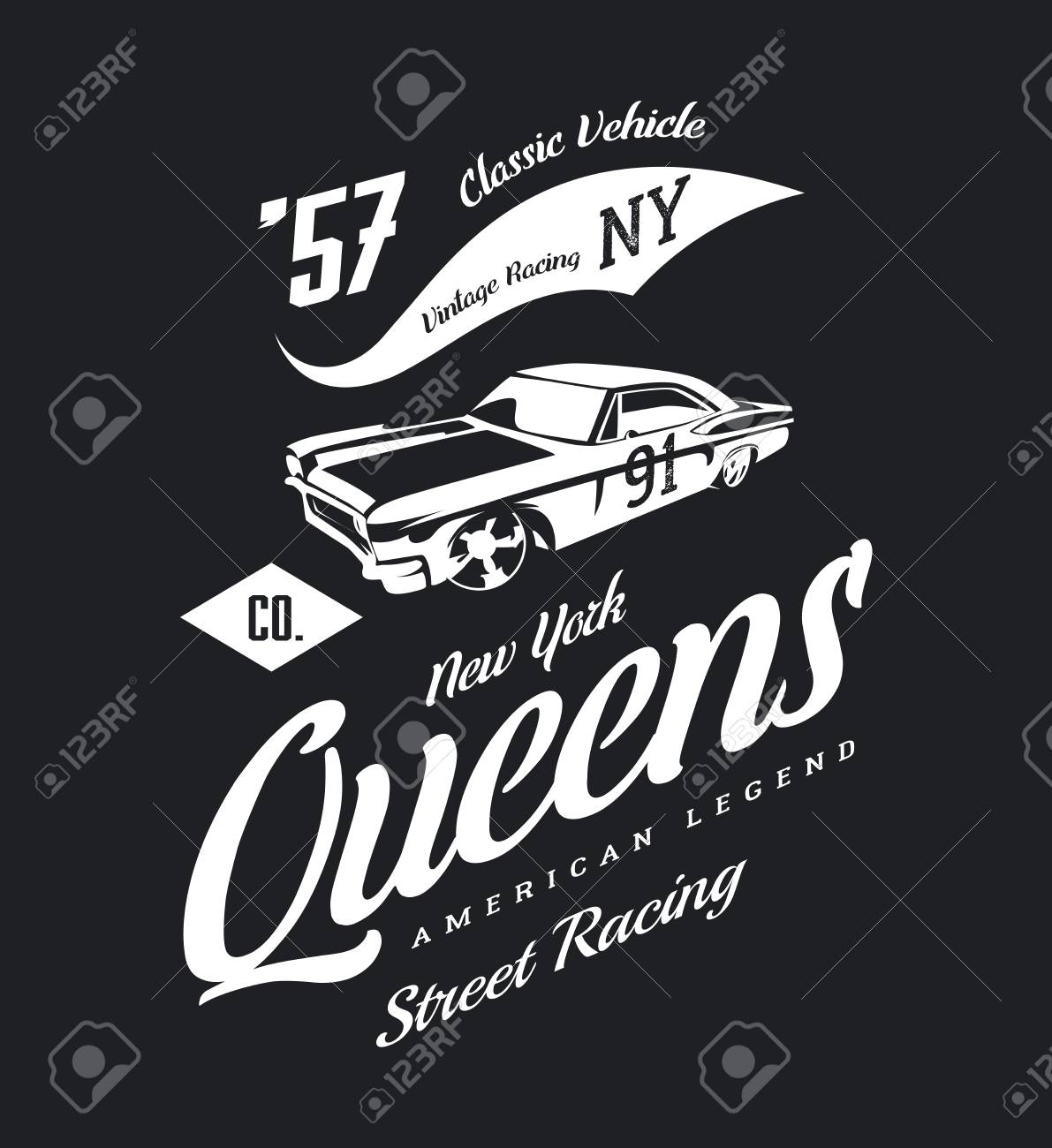 Vintage Muscle Car Vector Isolated On Dark Background Royalty Free
