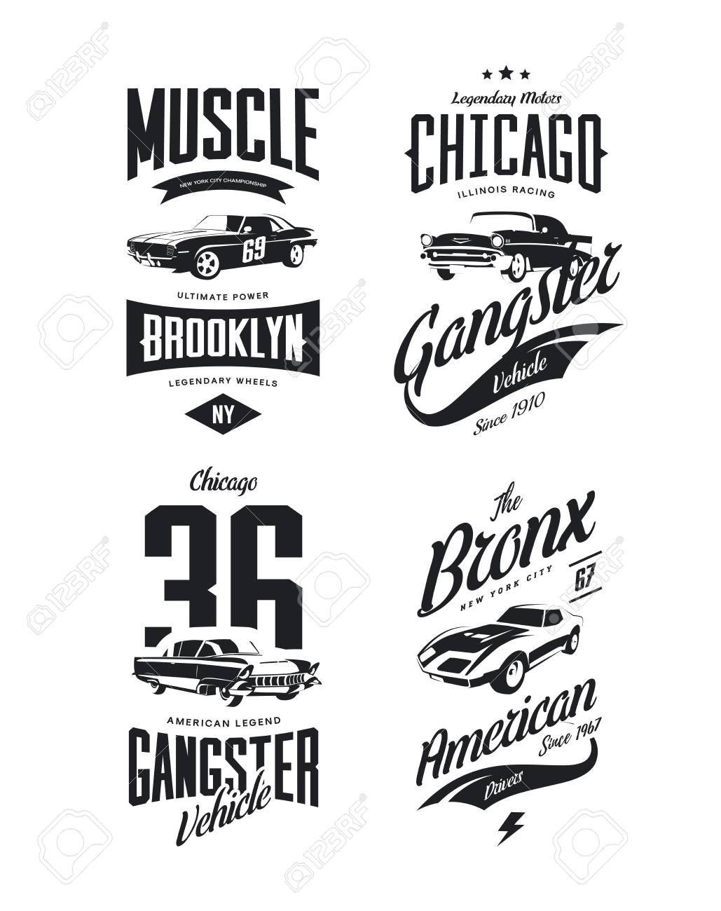 Vintage Classic Gangster Muscle Car Vector Tee Shirt Logo Isolated