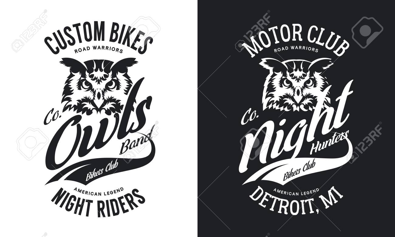Black And White Motor Bike T Shirt With Custom Owls Night Rider